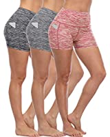 Cadmus Women's Tummy Control Workout Running Short Out Pocket,3 Pack,1015,Black & Grey & Red,Medium
