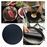 Promisen Non-Stick Pan Mat,High Temperature Frying Pan Outdoor BBQ Cooking Baking Bakeware Tools,Cooking Wok Sheet Pad to Prevent Sticking Food (Black)
