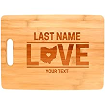 Custom Any Text Love Ohio State Cleveland Cincinnati Personalized Big Rectangle Bamboo Cutting Board