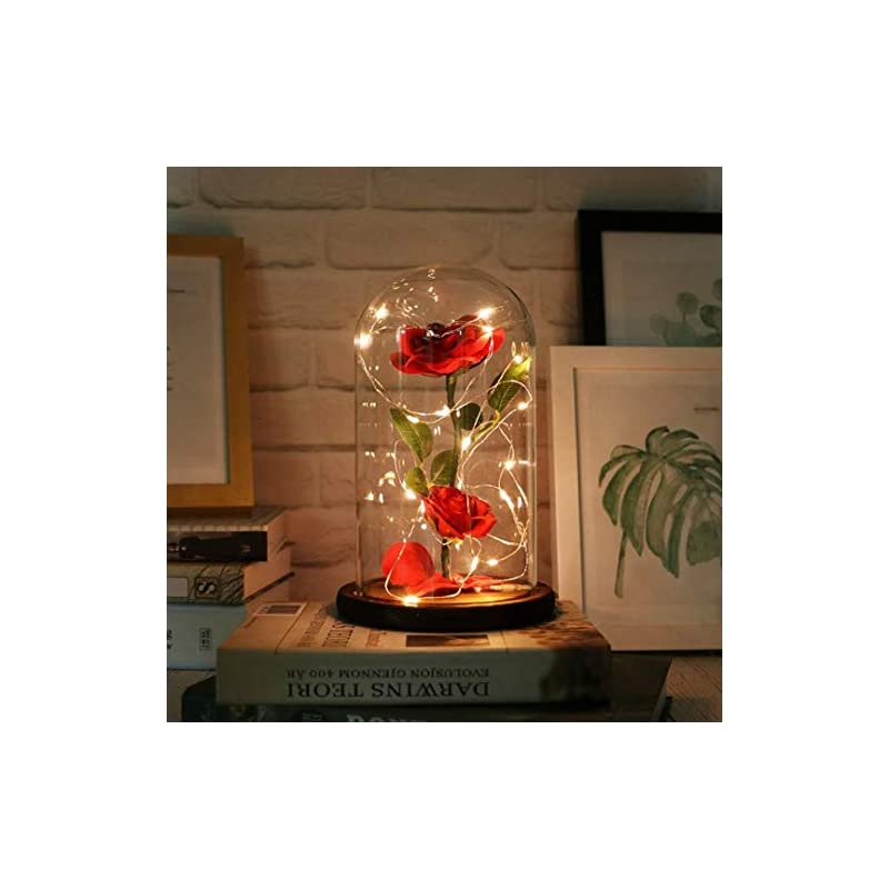 silk flower arrangements urbanseasons beauty and the beast rose ,rose kit, red silk rose and led light with fallen petals in glass dome on wooden base valentine's day anniversary birthday