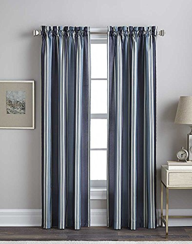 - Faux Silk Stripe Lined Rod Pocket Curtain Panel