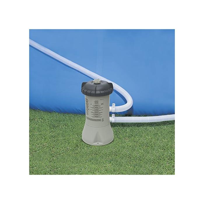 51MJNwr SYL Piscina circular de 305 cm de diámetro (altura 76 cm) Incluye depuradora de cartucho de 1.250 l/h, que utiliza filtros de cartucho tipo H (incluido) Capacidad: 3.853 litros