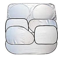 Full 6 Pcs Car Windshield Sunshade UV Protector Folding Silvering,Car Window Sun Shade Visor Shield Cover, Sun Shade UV…