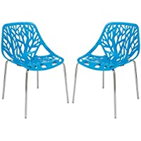 LeisureMod Forest Modern Side Dining Chair with Chromed Legs in Blue, Set of 2