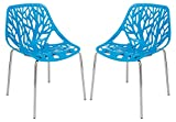 LeisureMod Forest Modern Side Dining Chair with Chromed Legs – Set of 2 (Blue) For Sale