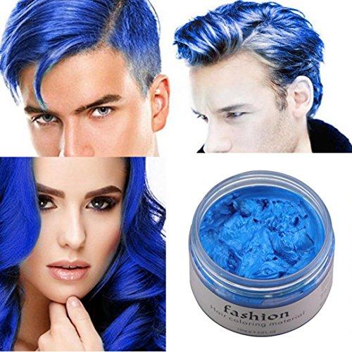 7 Colors Instant Hair Wax Unisex DIY Hair Color Wax Mud Dye Cream Temporary Modeling (Blue F)