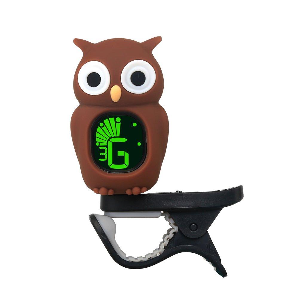 Clip-On Afinador para guitarra ukelele bajo Violín dibujos animados Owl, azul lennonsi