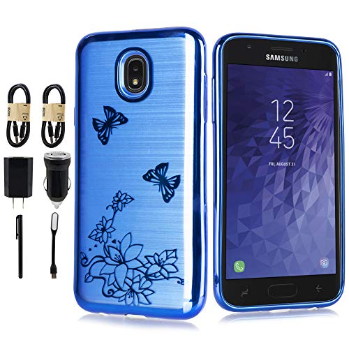 6goodeals Designed for Samsung Galaxy J7 2018, J7 Refine, J7 Star, J7 Crown, J7 Aura, J7 Top, J7 V J7v 2nd Gen J737 Shock Resistant Brushed Texture Soft TPU case [Accessory] (Blue)