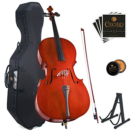 Cecilio CCO-100 Student Cello with Hard & Soft Case, Stand, Bow, Rosin, Bridge and Extra Set of Strings, Size 4/4 (Full Size) by Cecilio