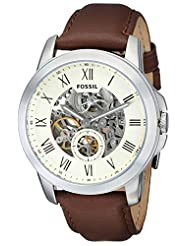 Fossil Men's ME3052 Grant Two-Hand Automatic Self Wind Leather Brown Watch