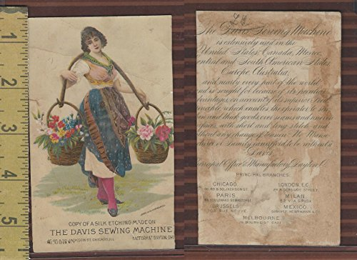 Victorian Card, 1890's, Davis Sewing Machine, Woman With Baskets of Flowers