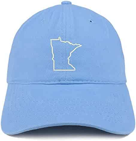 Trendy Apparel Shop Minnesota State Outline Embroidered Soft Cotton Dad Hat a5f14e6d7852