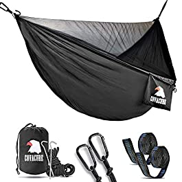 Covacure Camping Hammock with Mosquito Net – Lightweight Double Hammock,Hold Up to 772lbs,Portable Hammocks for Indoor,Outdoor, Hiking, Camping, Backpacking, Travel, Backyard, Beach