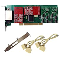 FXO FXS Card X800P with 4 FXO+4 FXS Ports,PCI,with 2U Profile,For Issabel,FreePbx FXO VoIP PBX Phone System