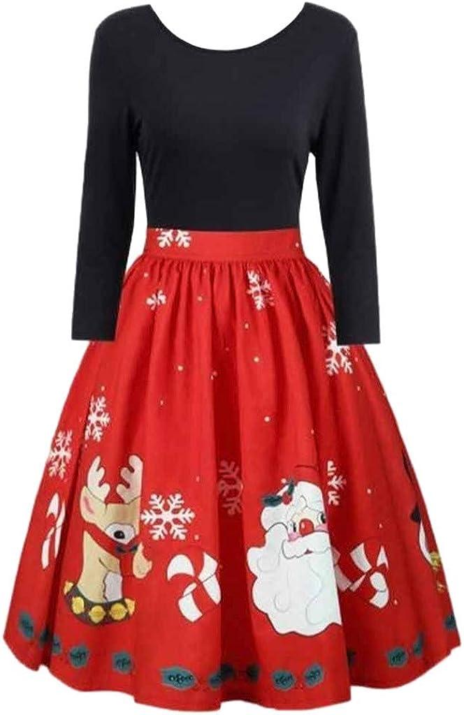 Women Party Christmas Costume Dress Amiley Women Christmas Santa Claus Reindeer Printed Long Sleeve Cocktail Swing Dresses