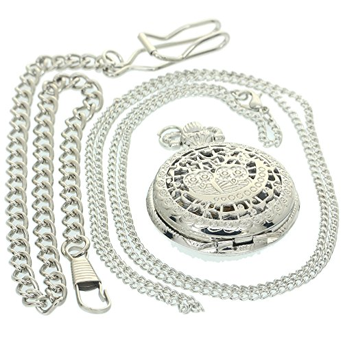Lovers Couple Owl On Moon Skeleton Pocket Watches Arabic Numerals White Gold Dial Silver Vintage Antique Case Pocket Watch 1 PC Necklace 1 PC Clip Key Rib Chain Quartz Pendant - Numeral Roman White Pocket Watch
