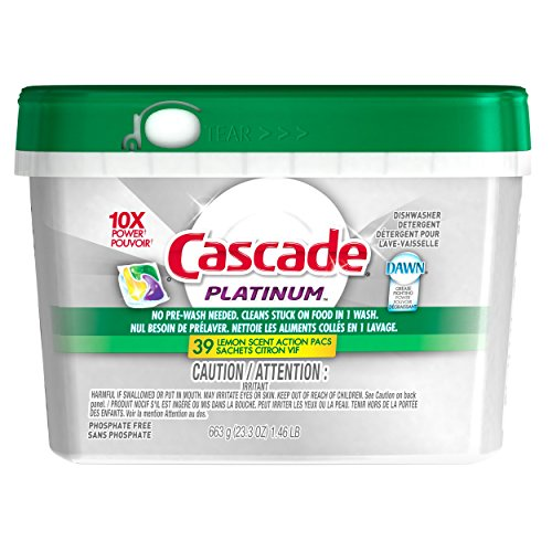 Cascade Platinum Actionpacs Dishwasher Detergent Lemon Burst, 39 ct