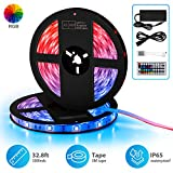 A-DUDU 2019 Upgrated LED Strip Lights, 32.8ft 300LEDs SMD 5050 RGB Waterproof Flexible LED Rope Lights, Multi-Color Changing with 44 Key IR Remote, Tape Light Kit Ideal for Home, Kitchen, Party, Room