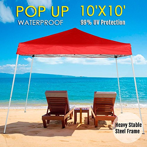 Yaheetech 10×10 Pop Up Canopy Tent Beach Sun Shade Easy Up Instant Shelter with Carrying Bag Red