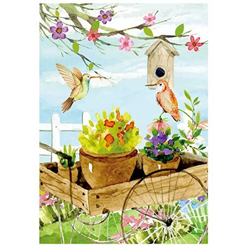 Texupday Courtyard Trolley Birdhouse Spring House Flag Floral Birds Decor Outdoor Yard Flag 28