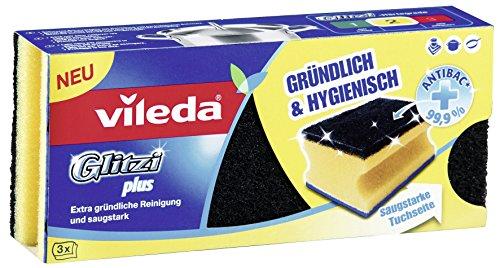 Vileda 144 Glitzi Plus mit Antibac - Gründlich, hygienisch & saugstark - 3er Vorratspack (3 Stück)