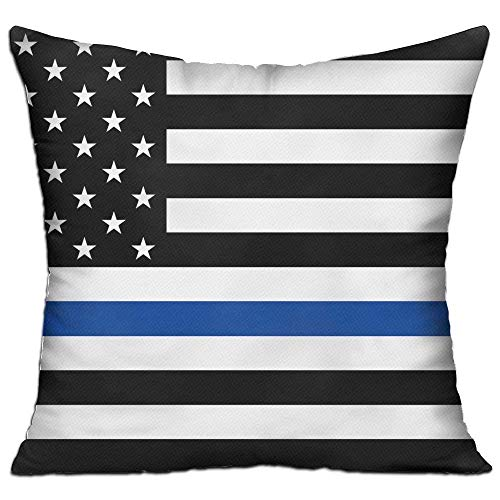 pport Police Thin Blue Line American USA Flag Cushion Cover Square Throw Pillow Case for Sofa Bedroom Car - Inserts are Not Included - 18