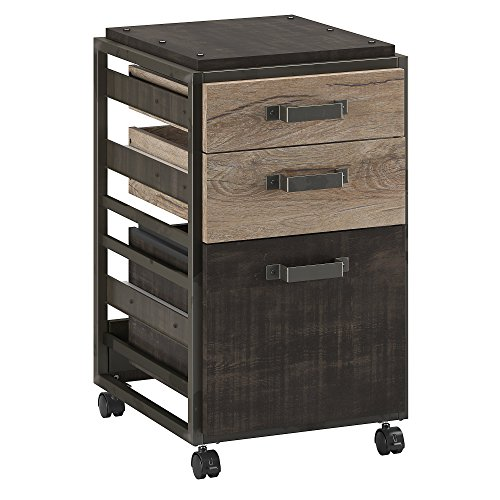 Bush Furniture Refinery 3 Drawer Mobile File Cabinet in Rustic Gray