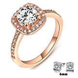 Winter.Z Womens Jewelry Circular Bead Square Ring Diamond Rose Gold Ring Wedding