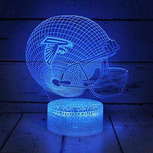 Bigfoot 3D LED Night Light Football Helmet Atlanta Falcons Flat Acrylic Illusion Lighting Lamp with 7 Colors and Touch Sensor, Sports Fan Nightlight Gift for Kids, Boys, Girls, Men or Women