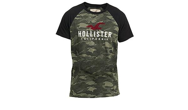 Hollister - Camiseta - Camiseta - Manga corta - para hombre verde camuflaje XL: Amazon.es: Ropa y accesorios