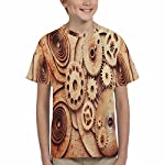 INTERESTPRINT Kid's T-Shirts Steampunk Background from Mechanical Clocks Details (XS-XL) 8