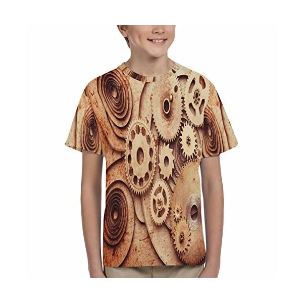 INTERESTPRINT Kid's T-Shirts Steampunk Background from Mechanical Clocks Details (XS-XL) 5
