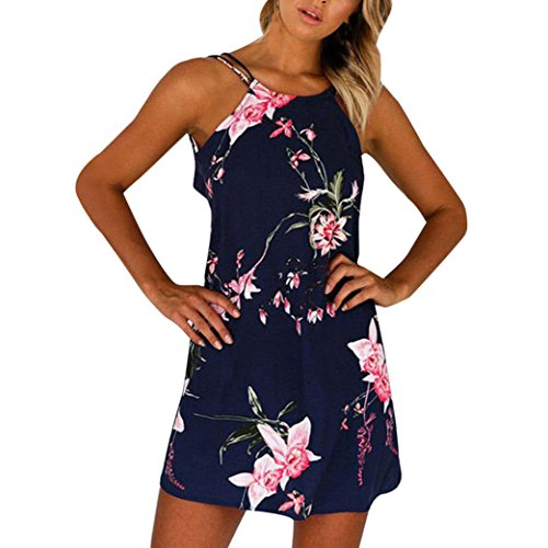 Price comparison product image Forthery Women Summer Halter Floral Printed Backless Mini Short Dress (L,  Dark Blue)