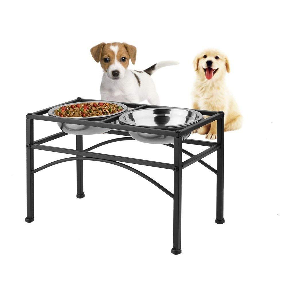 Dazone® Hundebar Napfständer für Hunde Futterstation Doppelt Futternapf Hundenapf aus Edelstahl Set Halter