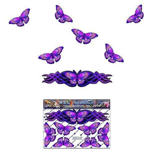 Pegatina animal púrpura de la etiqueta de la pequeña mariposa de la mariposa para las caravanas del coche Camiones y barcos ST00021PL_SML - Pegatinas de JAS