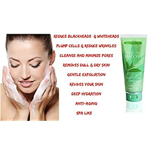 Green Tea Matcha Gentle Foaming Exfoliator, Best Exfoliating Face Wash For Men & Women, Deep Cleansing & Reduces Clogged Pores, Anti-Aging Facial Skin Care Cleanser, Microdermabrasion Effect