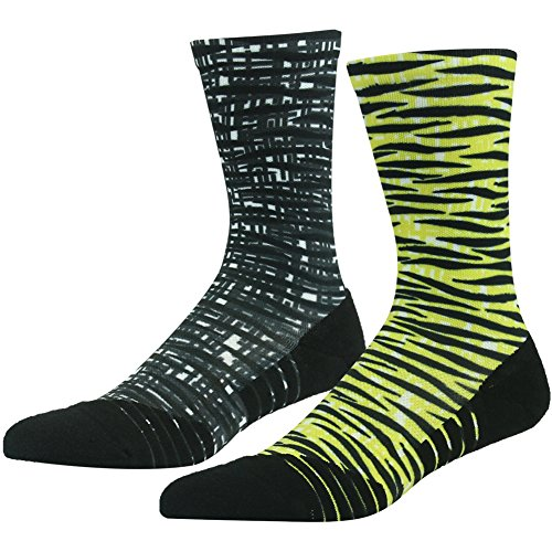 HUSO Men's Women's Unisex Striped Crew Socks Best For Running, Athletic Sports, Crossfit, Flight Travel,2 Pairs(Yellow/Grey,L/XL)