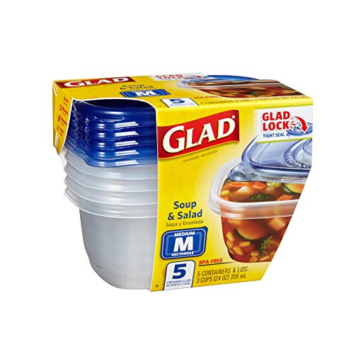 (Glad Food Storage Containers - Soup and Salad Containers - 24 Ounce - 5 Count)