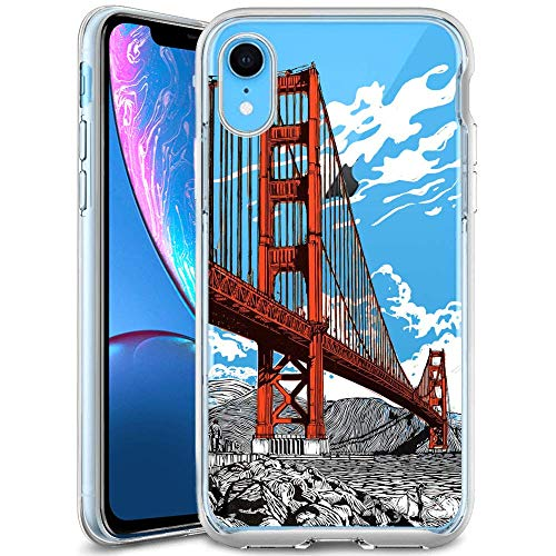 Case for iPhone Xr ,Golden Gate Bridge Crystal Clear Soft Case with Pattern Printed Transparent Protective Back Cover Case Protective TPU Thin Cover Transparent Slim Anti Slip Case