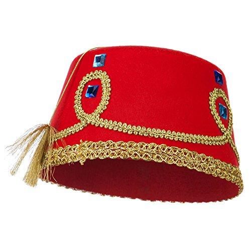 Decorated Felt Fez Hat - Red OSFM (Fez Halloween Costume)