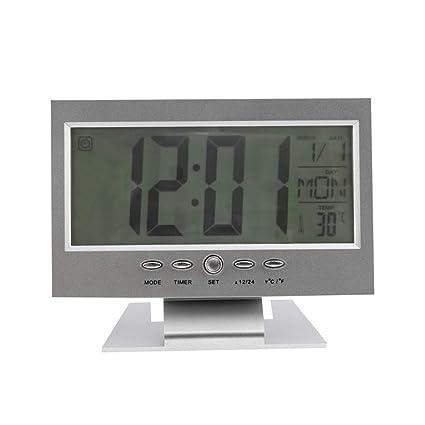 Control de Voz del hogar Contraluz Pantalla LCD Alarma Reloj ...