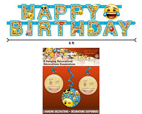Emoji 6 ft Happy Birthday Banner and 3 Hanging Decorations