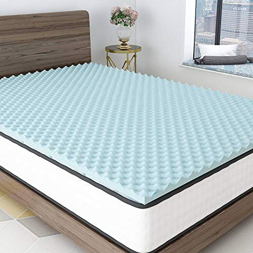 Milemont 1.5 inch Mattress Topper,Egg Crate Design Gel Swirl Memory Foam Bed Topper for Pressure Relief Queen Size
