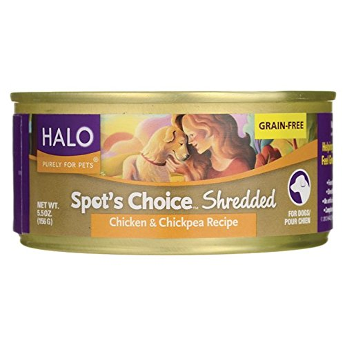 Halo, Purely For Pets Spot's Choice for Dogs - Shredded Chicken & Chickpea Recipe 5.5 oz (156 g) Can