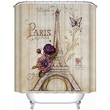 Beautiful Uphome Vintage Paris Themed Bluish Brown Eiffel Tower Bathroom Shower  Curtain   Purple Flower Custom Polyester