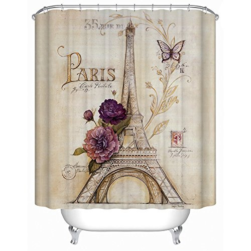 Uphome Vintage Paris Themed Bluish Brown Eiffel Tower Bathroom Shower Curtain - Purple Flower Custom Polyester Fabric Bath Decorative Curtain (72