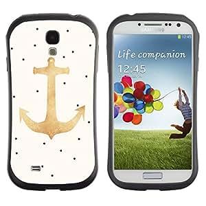 Fuerte Suave TPU GEL Caso Carcasa de Protección Funda para Samsung Galaxy S4 I9500 / Business Style Polka Dot Gold Beige Sailor Seaman
