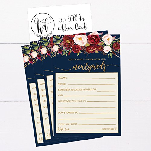 50 4x6 Navy Floral Wedding Advice & Well Wishes For The Bride and Groom Cards, Reception Wishing Guest Book Alternative, Bridal Shower Games Note Marriage Advice Bride To Be, Best Wishes For Mr & Mrs Photo #3