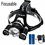 LED Headlamp,SGODDE 4 Mode Headlight Flashlight Torch- Zoomable Super Bright with 2 Pack Rechargeable Batteries, Adjustable Focusable + AC Charger for Outdoor Hiking Camping Riding Fishing Hunting