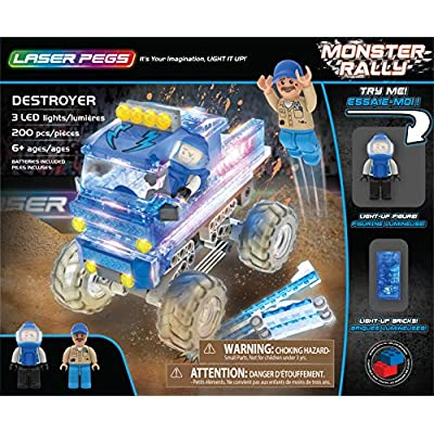 Laser Pegs Destroyer Light Up Building Kit (200Piece): Toys & Games